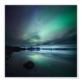 Premium poster  Northern Lights over Jokulsarlon - Matteo Colombo