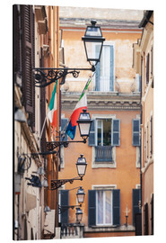 Aluminium print  Street in the centre of old town with italian flags, Rome, Italy - Matteo Colombo