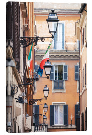 Canvas print  Street in the centre of old town with italian flags, Rome, Italy - Matteo Colombo