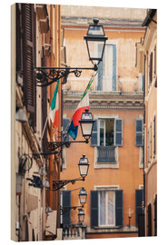 Wood print  Street in the centre of old town with italian flags, Rome, Italy - Matteo Colombo