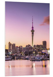 Foam board print  Skyline of Auckland city and harbour at sunrise, New Zealand - Matteo Colombo