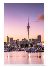 Premium poster  Skyline of Auckland city and harbour at sunrise, New Zealand - Matteo Colombo