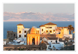Premium poster  Strait of Gibraltar and town of Tarifa at sunset, Andalusia, Spain - Matteo Colombo