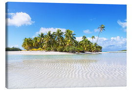 Canvas print  Tropical beach with palm trees, One Foot Island, Aitutaki, Cook Islands - Matteo Colombo