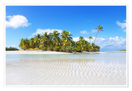 Premium poster  Tropical beach with palm trees, One Foot Island, Aitutaki, Cook Islands - Matteo Colombo