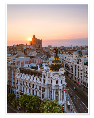 Poster Gran Via At Sunset Madrid
