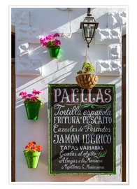 Premium poster  Typical whitewashed ornate wall and paella sign, Andalusia Spain - Matteo Colombo