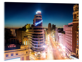 Acrylic glass  Gran Via shopping street and city of Madrid at night - Matteo Colombo