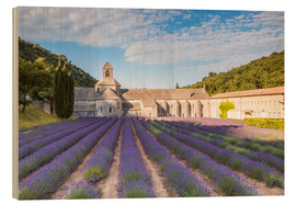 Wood print  Famous Senanque abbey with lavender field, Provence, France - Matteo Colombo