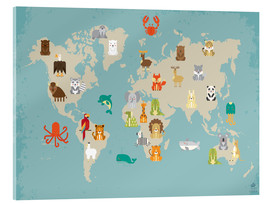 Acrylic print  World map with animals - Petit Griffin