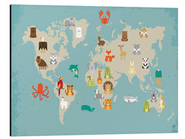 Aluminium print  For the Nursery: world map of animals - Petit Griffin