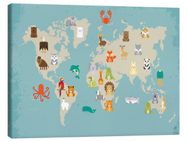 Canvas  For the Nursery: world map of animals - Petit Griffin