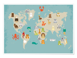 Premium poster  World map with animals - Petit Griffin
