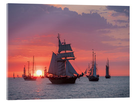 Acrylic print  Sailing ships on the Baltic Sea in the evening - Rico Ködder