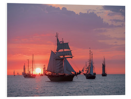 Foam board print  Sailing ships on the Baltic Sea in the evening - Rico Ködder