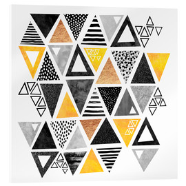 Acrylic print  Triangle abstract   Black and yellow - Elisabeth Fredriksson