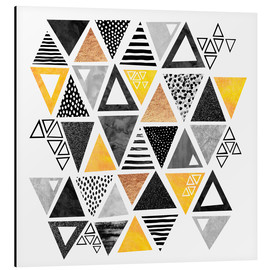 Aluminium print  Triangle abstract   Black and yellow - Elisabeth Fredriksson