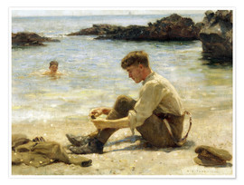 Premium poster  Lawrence as a Cadet at Newporth Beach - Henry Scott Tuke