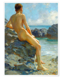 Premium poster  The bather - Henry Scott Tuke