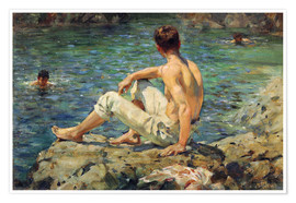 Premium poster  Green and Gold - Henry Scott Tuke