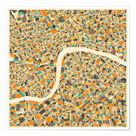Premium poster  London Map - Jazzberry Blue