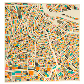 Acrylic glass  Map of Amsterdam - Jazzberry Blue