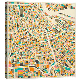 Canvas print  Map of Amsterdam - Jazzberry Blue