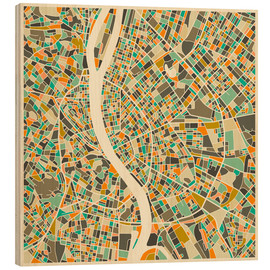 Wood print  Budapest Map - Jazzberry Blue