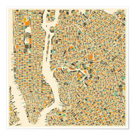 Poster  New York City Map - Jazzberry Blue