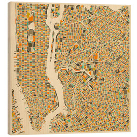 Wood print  New York map colorful - Jazzberry Blue