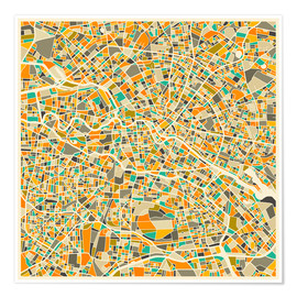 Premium poster  Map of Berlin - Jazzberry Blue