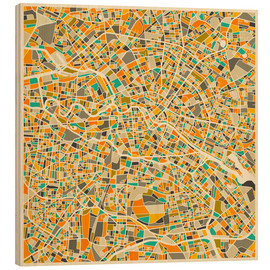 Wood print  Map of Berlin - Jazzberry Blue
