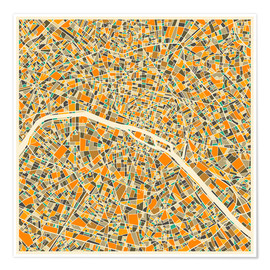 Premium poster  Paris map colorful - Jazzberry Blue