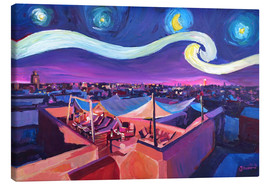 Canvas  Starry Night in Marrakech   Van Gogh Inspirations on Fna Market Place in Morocco - M. Bleichner