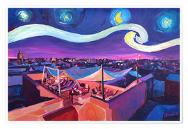 Premium poster Starry Night in Marrakech   Van Gogh Inspirations on Fna Market Place in Morocco
