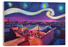 Wood print  Starry Night in Marrakech   Van Gogh Inspirations on Fna Market Place in Morocco - M. Bleichner