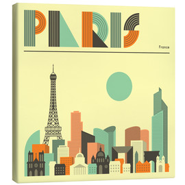 Canvas  Paris Skyline - Jazzberry Blue