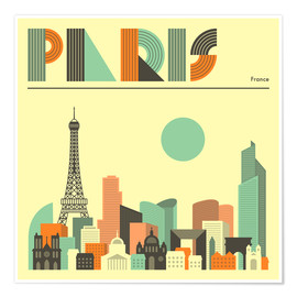 Premium poster  Paris skyline - Jazzberry Blue