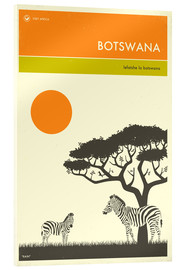 Acrylic glass  Botswana Travel Poster - Jazzberry Blue