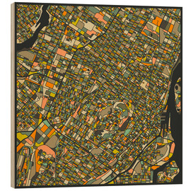 Wood print  Montreal Map - Jazzberry Blue