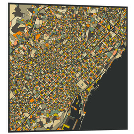 Foam board print  Barcelona map - Jazzberry Blue