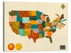 Canvas print  UNITED STATES Map - Jazzberry Blue