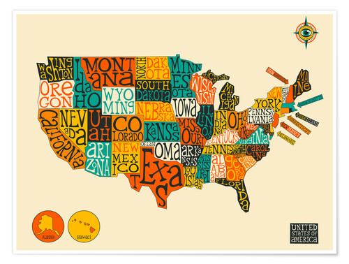 United States Map Posters And Prints Posterloungecom - Us-map-poster