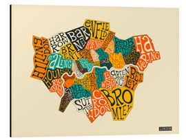 Aluminium print  London Boroughs - Jazzberry Blue