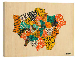 Wood print  London Boroughs - Jazzberry Blue