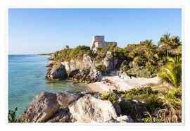 Premium poster  Famous maya ruins of Tulum on the caribbean sea, Mexico - Matteo Colombo