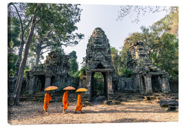 Canvas print  Monks with umbrellas inside Angkor Wat temples, Cambodia - Matteo Colombo