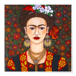 Poster  Frida with butterflies - Madalena Lobao-Tello