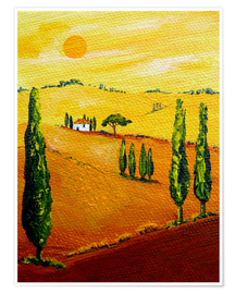 Premium poster  Tuscany landscape 3 - Christine Huwer