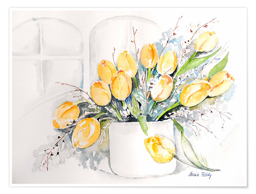 Premium poster Tulips by the window